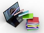 Books fly into your laptop — Stock Photo