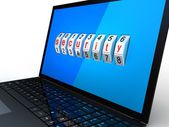 Safe laptop on white background, 3D images — Stock Photo