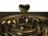 Abstract background as a liquid gold waves with a heart like dro — Stock Photo