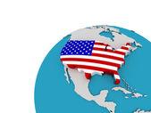 Le drapeau des états-unis sur le globe, 3d — Photo