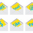 White open envelope. Vector illustration. Sms icons — Stock Photo #30323861
