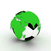 Soccer gold ball and continents, 3D — Stock Photo