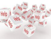 Cubes with a help, 3D images — Stock Photo
