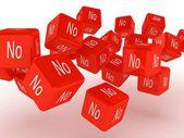 Kuber med ett nej, 3d-bilder — Stockfoto