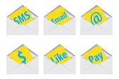 белый открытый конверт. векторные иллюстрации. иконы sms — Стоковое фото