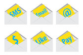 White open envelope. Vector illustration. Sms icons — Stock Photo