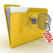 3d illustration of yellow folder locked with key,isolated over w — Stock Photo