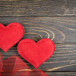 Red heart on old wooden background — Stockfoto #39497589