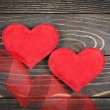 Red heart on old wooden background — Stockfoto #39497613