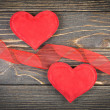 Red heart on old wooden background — Stockfoto #39497623