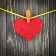 Red Heart with Clothespin — Stock Photo #39820663