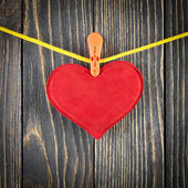 Red Heart with Clothespin — Stock Photo