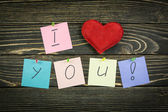 I love you on wood background — Stock Photo