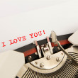 I Love You printed on a clean sheet to the typewriter — Stock Photo