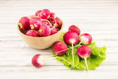 Garden radish isolated on old wooden — Foto Stock