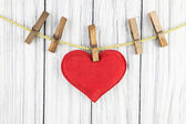 Red Heart with Clothespin — Стоковое фото