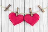 Red Heart with Clothespin — Stockfoto