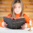The girl reads the Bible — Stock Photo #43793729