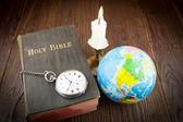 The Bible and pocket watch — Stock Photo