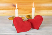 Gift romantic evening by candlelight — Stock Photo