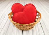 Red heart on wood background — Foto de Stock
