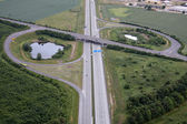 Aerial view over the road — Stock Photo