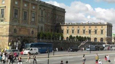 Stockholm şehir i̇sveç kraliyet sarayı gamla stan — Stok video