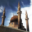 Turkish Mosque Clouds Timelapse 3D render and real clouds timelapse - Stock Photo