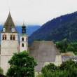 Scenery in the Alps timelapse with church — Stock Video