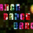 Stock Video: Flashing colorful disco lights with Dance title