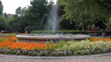 European fountain in a park — Stock Video