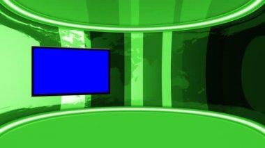循环的动画与绿色屏幕监视器的虚拟演播室. — 图库视频影像