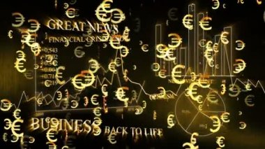 Optimistic business animation with euro symbols — Stock Video