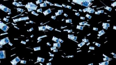 20 euro banknotes falling animation. — Stock Video