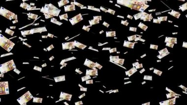 50 euro banknotes falling animation. — Stock Video