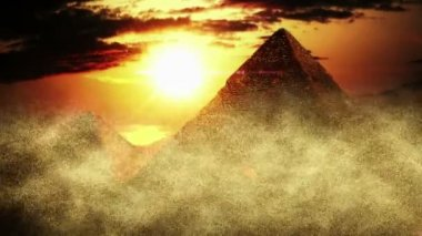 Realistic Egyptian Pyramids in sandstorm — Stock Video