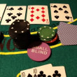 Chips with cards on a poker table — Stock Video #16034465