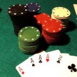 Poker table with cards and chips - Foto Stock
