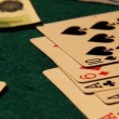 Poker table with cards, chips and money — Stock Video #16035729