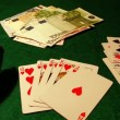 Poker table with cards, chips and money — Stock Video #16035915