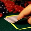 Man with cards playing poker — Stock Video