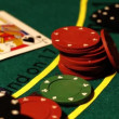 Chips with cards on a poker table — Stock Video
