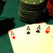 Poker table with cards — Stock Video #16036807