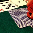 Stock Video: Person puts chips on card table