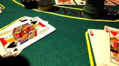 Poker table with cards — Stock Video #16033703