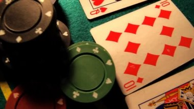 Poker table with cards — Stock Video #16034397