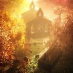 Autumn in Cemetery 3D render 7 — Stock Photo