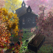Autumn in Cemetery 3D render 6 - Stock Photo