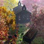 Autumn in Cemetery 3D render 6 — Stock Photo