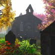 Autumn in Cemetery 3D render 5 - Stock Photo